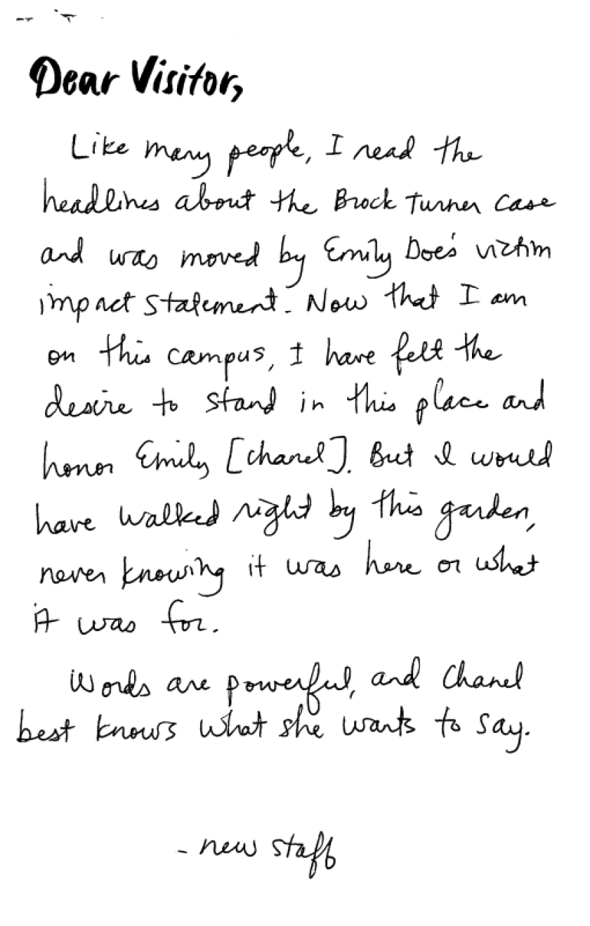 One of the letters written for the project
