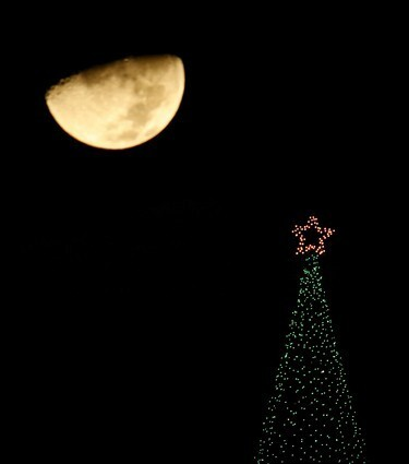 Have you seen the Christmas trees in Rome or at Rockefeller Center? Until you have time to hop a jet and see them first-hand, here's a sampler of decorations from around the world. United States A half moon sets in the distance behind a Christmas tree on top of a building in Overland Park, Kansas.
