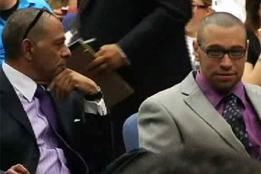 Daniel Villegas, right, in court.