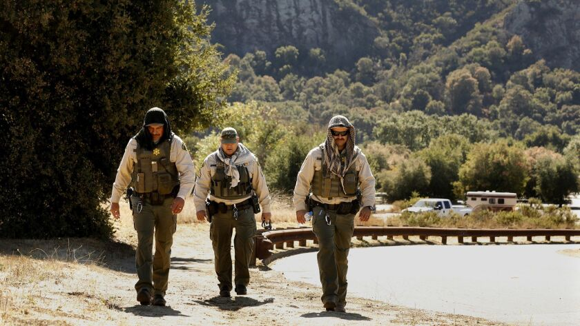 CALABASAS, CALIFORNIA--OCT. 17, 2018--Members of the Los Angeles County Sheriff's department, includ