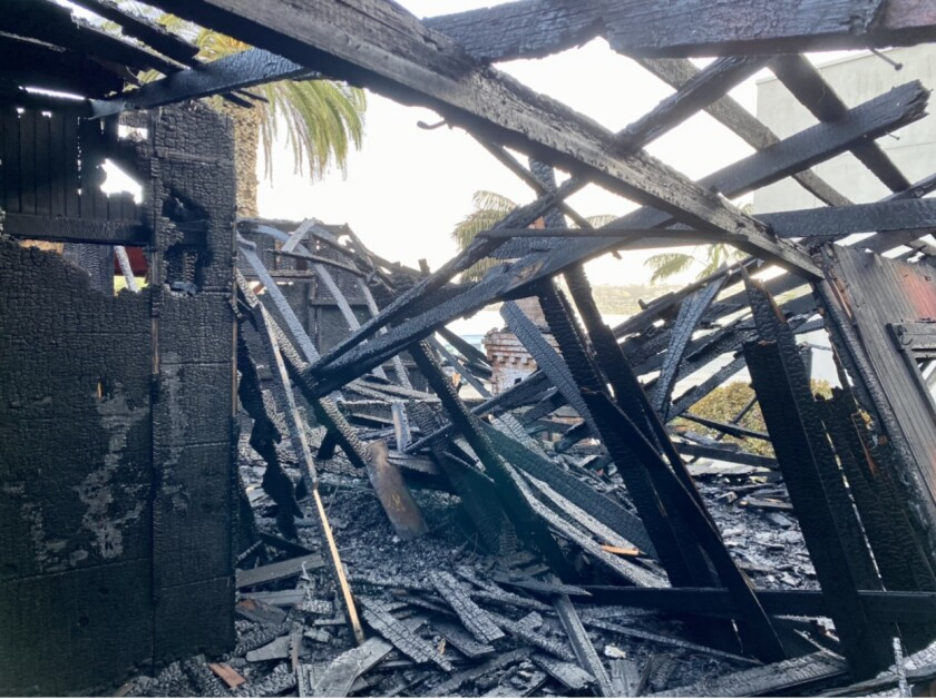 Red Rest cottage burned in a fire early Oct. 26 on Coast Boulevard in La Jolla.