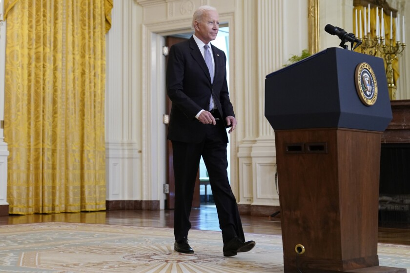 President Joe Biden arrives to speak about distribution of COVID-19 vaccines, in the East Room of the White House, Monday, May 17, 2021, in Washington. (AP Photo/Evan Vucci)