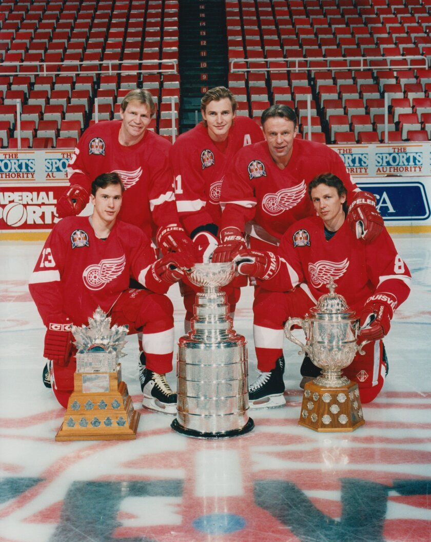 "The players of ""The Russian Five"": Back row, from left, Vladimir Konstantinov, Sergei Fedorov and Slava Fetisov. Front row, from left, Igor Larionov and Slava Kozlov."