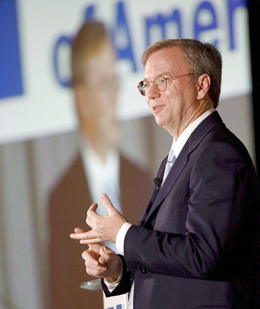 Eric Schmidt, Google's chief executive, addressed a group of publishers  and executives at the Newspaper Association of America conference yesterday at  the Manchester Grand Hyatt.
