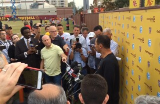 Bill Plaschke: More questions than answers at Steve Sarkisian's news conference