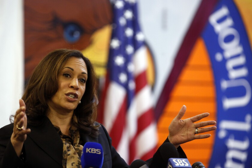Kamala Harris campaigns at a Los Angeles union headquarters.