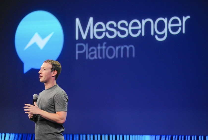 "The human side of chatbots will be most apparent in mobile messaging applications such as Facebook Messenger, where the social network has already begun perfecting its own virtual assistant called ""M."" Above, Facebook CEO Mark Zuckerberg introduces a new messenger platform at the F8 summit in San Francisco last year."