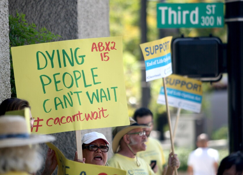 Right-to-die supporters rally outside Gatto's office - Los