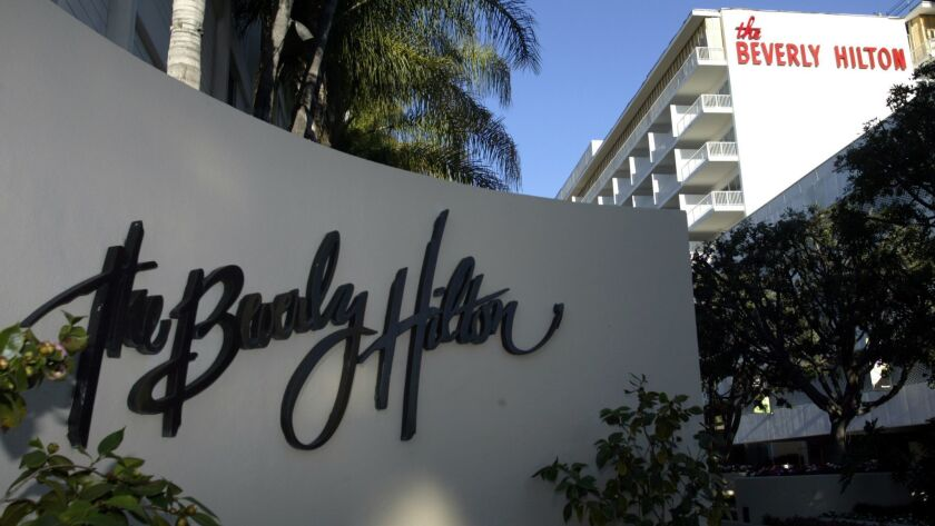 The Beverly Hilton is part of a hotel complex at Wilshire and Santa Monica boulevards.
