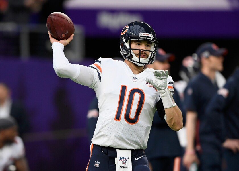 Bears quarterback Mitchell Trubisky warms up before Chicago's game against the Minnesota Vikings on Dec. 29, 2019.