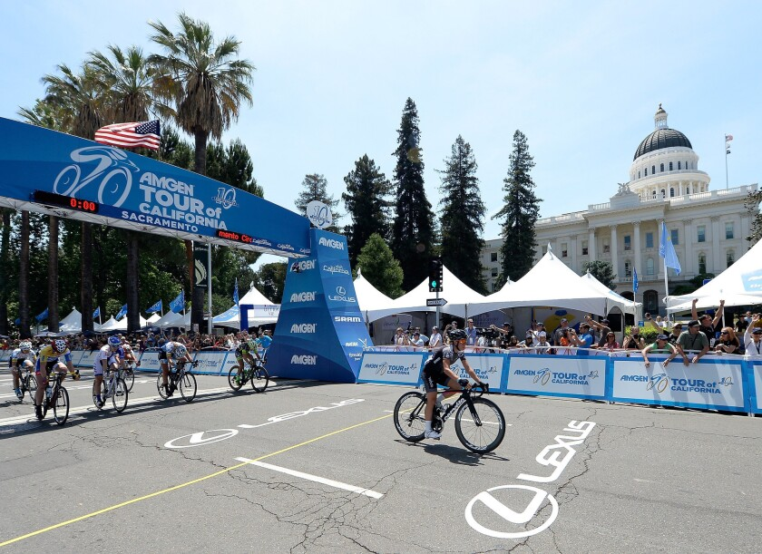 Trixi Worrack finishes fourth in the final stage of the Tour of California to claim the women's overall title on Sunday in Sacramento.