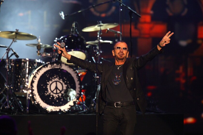Ringo Starr performs at The Night that Changed America: a Grammy Salute to the Beatles, on Jan. 27, 2014, in Los Angeles.