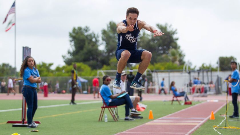 After a leap of 22-10, Matthew DeRoos of Tri-City Christian went 24-4 1/4 to secure a place in the long jump finals at the state meet.