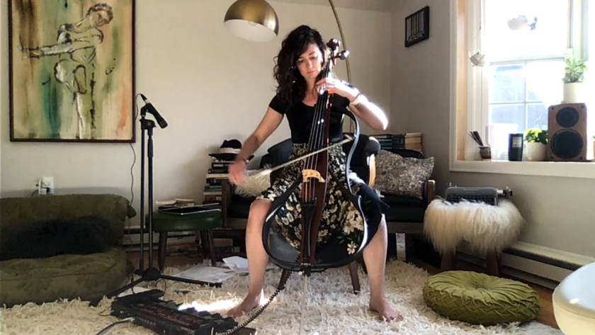 A screenshot of April Faith-Slaker, a cellist and Wild Hum band member, performing live on Twitch.