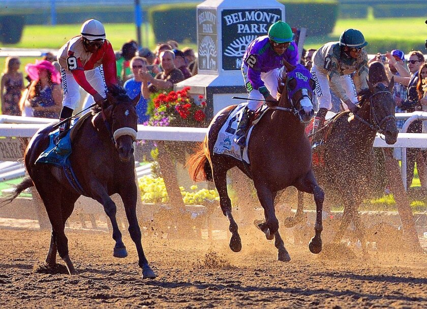 Victor Espinoza aboard California Chrome (2) rides past the finish line during the Belmont Stakes at Belmont Park, Saturday, June 7, 2014, in Elmont, N.Y. Tonalist went on to win the race, denying California Chrome the Triple Crown victory. (AP Photo/Florida Today, Craig Rubadoux) MAGS OUT; NO SALES