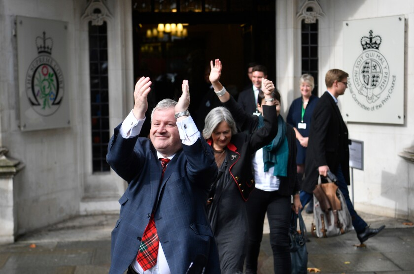 Ian Blackford, leader of the Scottish National Party, reacts outside Britain's Supreme Court after a hearing on the prorogation of Parliament.