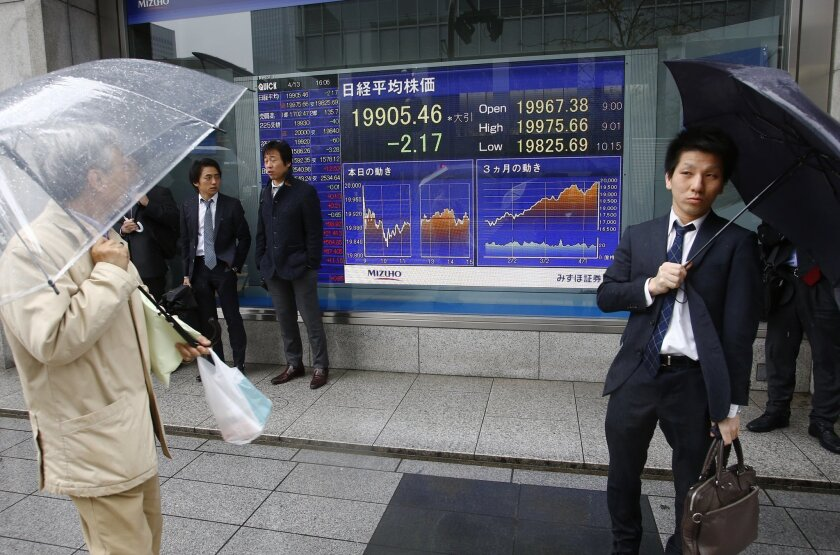 A man watches an electronic stock indicator of a securities firm in Tokyo Monday, April 13, 2015. Asian stock markets were mostly higher Monday after weak Chinese trade data increased expectations that Beijing will launch new stimulus. Japan's benchmark Nikkei 225 was unchanged at 19,905.46 after b