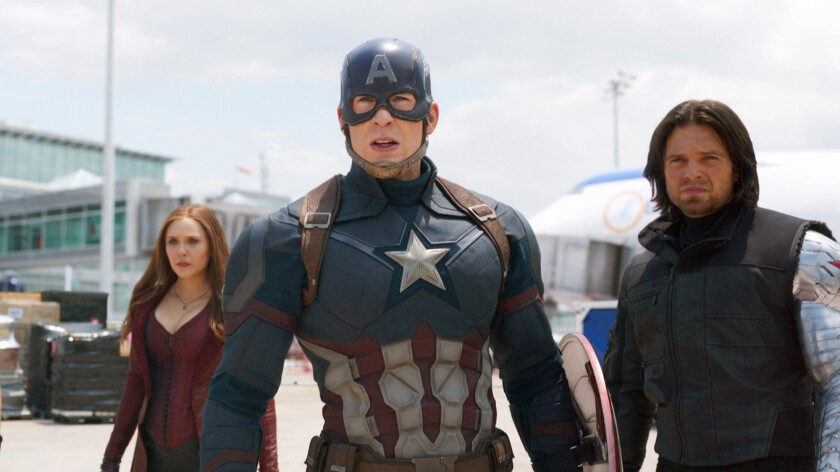 "Elizabeth Olsen, left, Chris Evans and Sebastian Stan in Marvel's ""Captain America: Civil War,"" a popular target of online pirates."