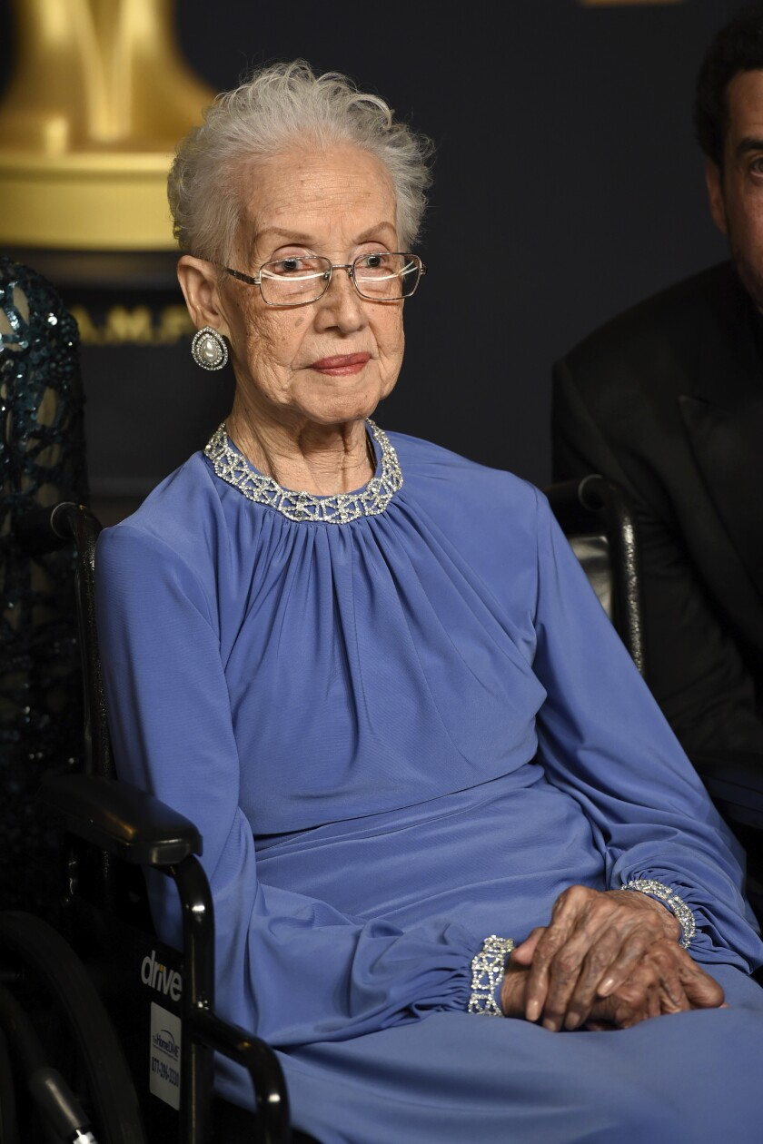 """Katherine Johnson, a mathematician on early space missions who was the inspiration for the 2016 film """"Hidden Figures,"""" died at age 101 on Feb. 24."""