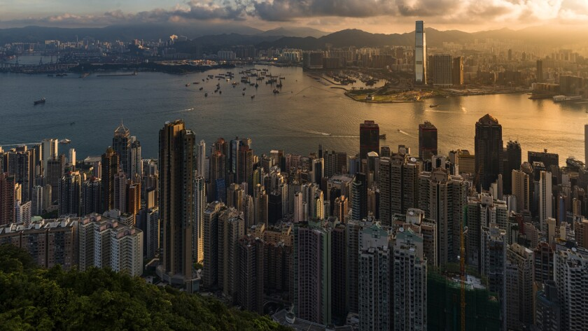 View of Victoria Harbour and Hong Kong Central beside Victoria Peak. Taken from Victoria Peak (Taipi