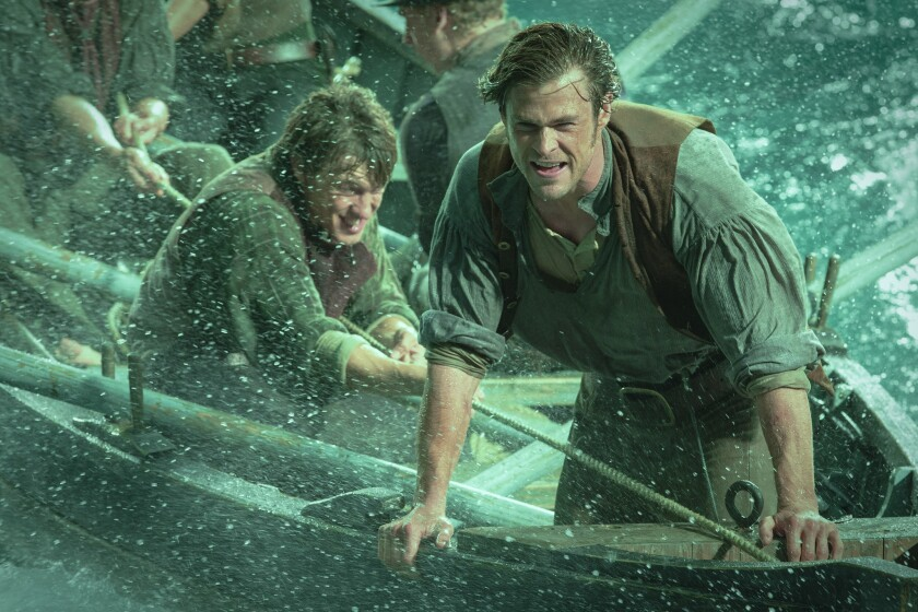 """Chris Hemsworth, right, and Sam Keeley in a scene from """"In the Heart of the Sea."""""""