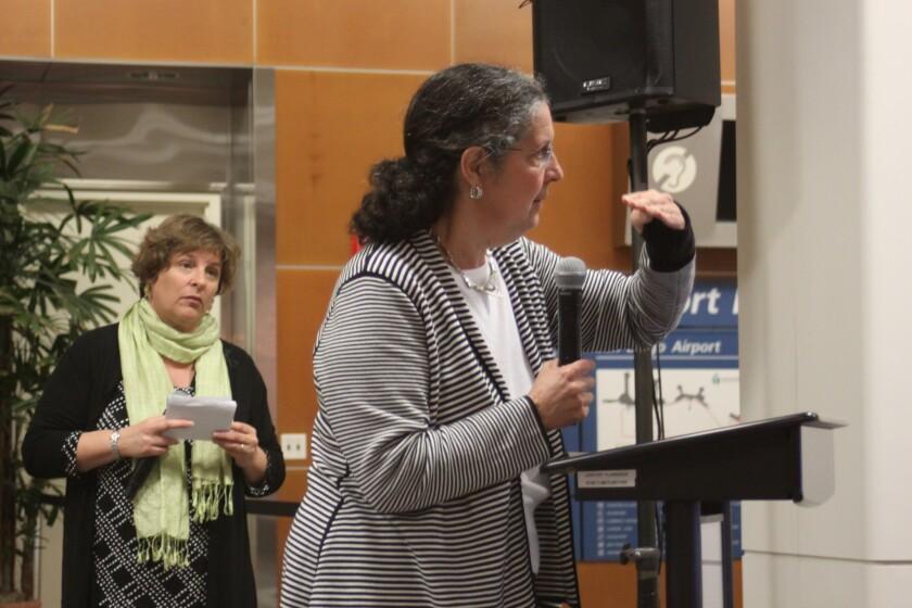 Bird Rock resident Beatriz Pardo pleads for a return to former flight patterns.