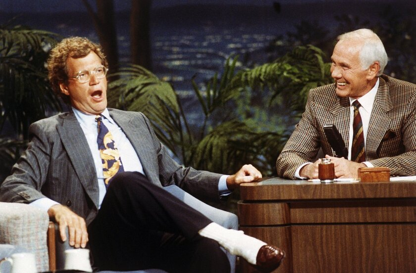 "David Letterman appears with Johnny Carson on ""The Tonight Show"" Aug. 30, 1991."
