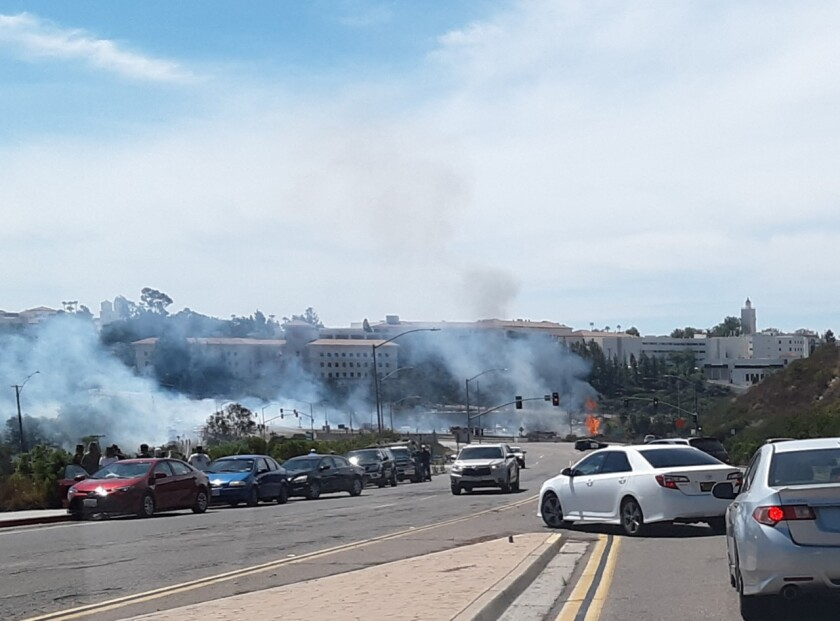 Fire ignited near San Diego State University