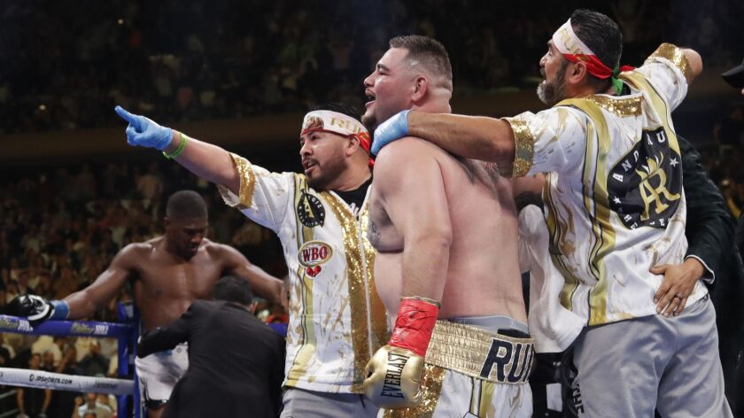 Andy Ruiz celebrates with his corner after the referee stopped Ruiz's heavyweight championship boxin