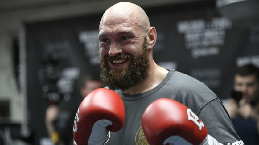 Tyson Fury works out in on Oct. 25 in preparation for his title fight against Deontay Wilder on Dec. 1.
