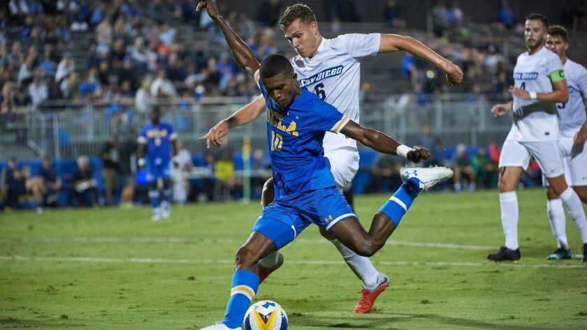 UCLA's Mohammed Kamara takes a shot against San Diego.