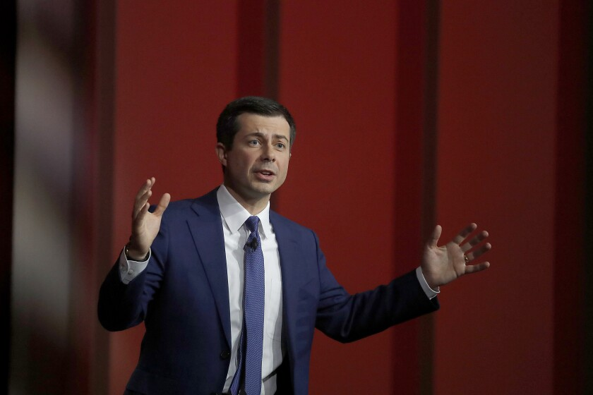 Democratic presidential candidate Pete Buttigieg at a town hall at USC