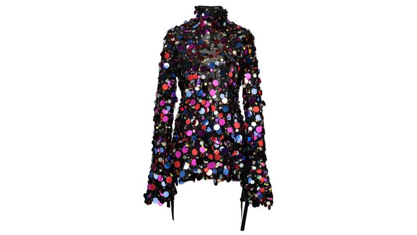Carolina Herrera Carolina Herrera's sheer open-back spangled-colored silk sequin-embellished top fea
