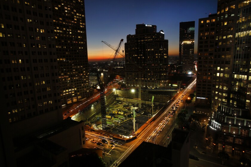 When finished the New Wilshire Grand will rise 1,100 feet and be the tallest building west of the Mississippi. The logistics for the concrete pour are daunting; crews have been preparing the site for five months.