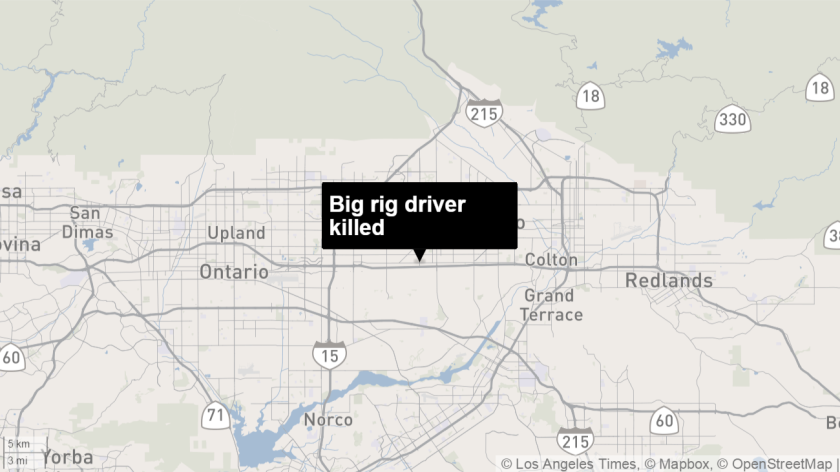 A map shows the approximate location where a big rig driver was killed in a fiery crash on the westbound 10 Freeway in Fontana on Jan. 26.