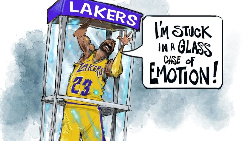 Sports cartoonist Jim Thompson depicts the current situation between LeBron James and the Lakers.