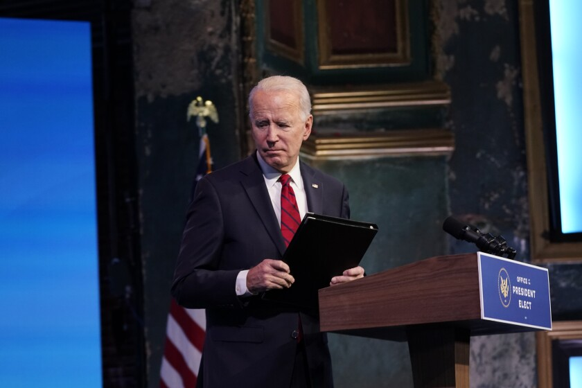President-elect Joe Biden leaves after speaking on Friday in Wilmington, Del.
