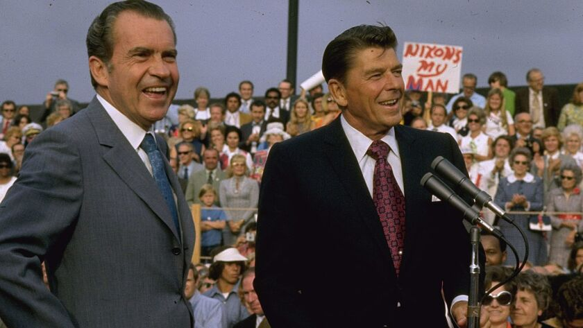 President Nixon campaigns future President Reagan in 1972. Both men were known for their calls to be tougher on crime.