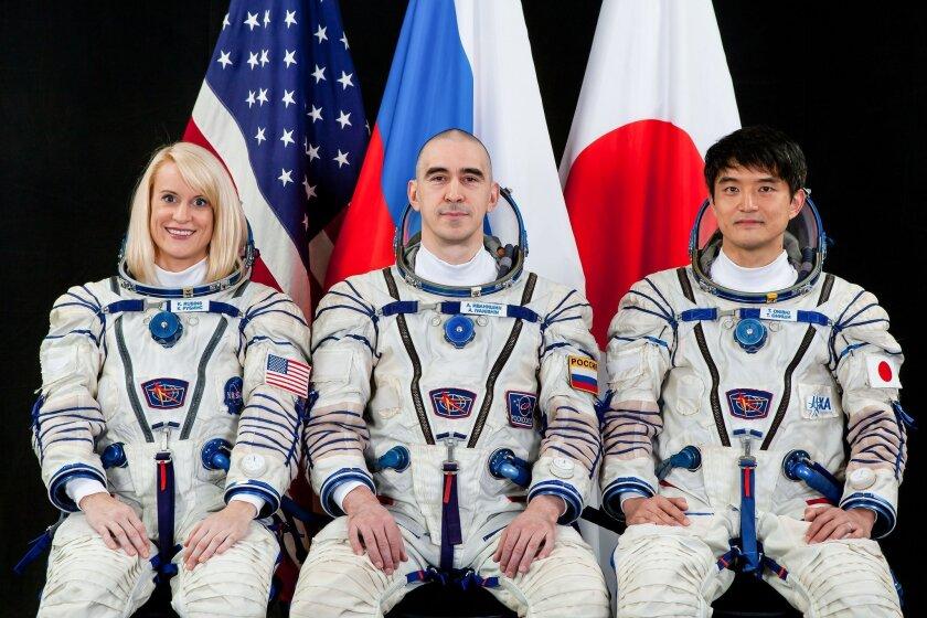 International Space Station Expedition 48/49 astronaut Kate Rubins of NASA, Russian cosmonaut Anatoly Ivanishin and Japan Aerospace Exploration Agency (JAXA) astronaut Takuya Onishi.