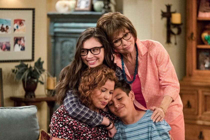 Justina Machado, Isabella Gomez, Rita Moreno, Marcel Ruiz in a scene from Netflix series 'One Day At A Time.'