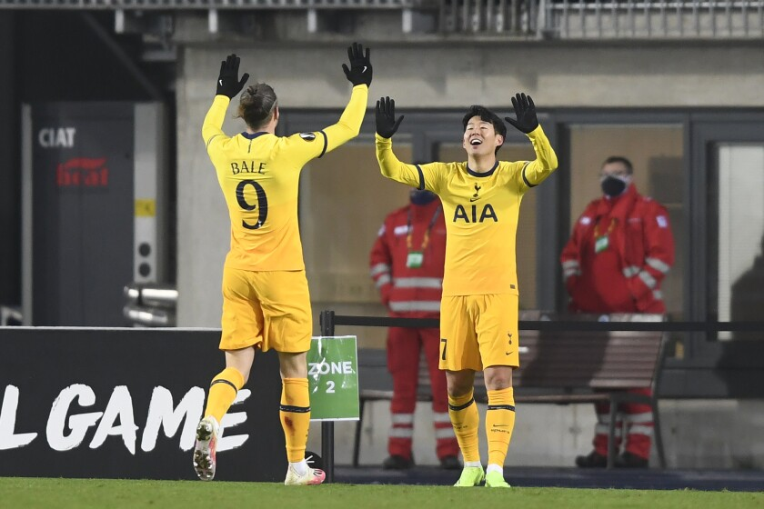 Tottenham's Son Heung-min celebrates after scoring his side's second goal with Tottenham's Gareth Bale during the Europa League Group J soccer match between Linzer ASK and Tottenham Hotspur at the Linzer stadium in Linz, Austria, Thursday, Dec. 4, 2020. (Photo/Andreas Schaad)