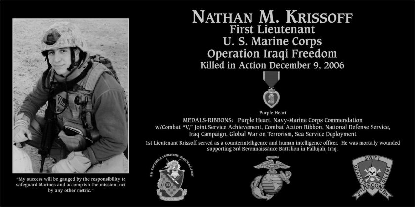 This plaque honoring Nathan Krissoff, son of Christine and William Krissoff, will be dedicated May 25 at Mt. Soledad. Brother, Austin, also served in the Marines.