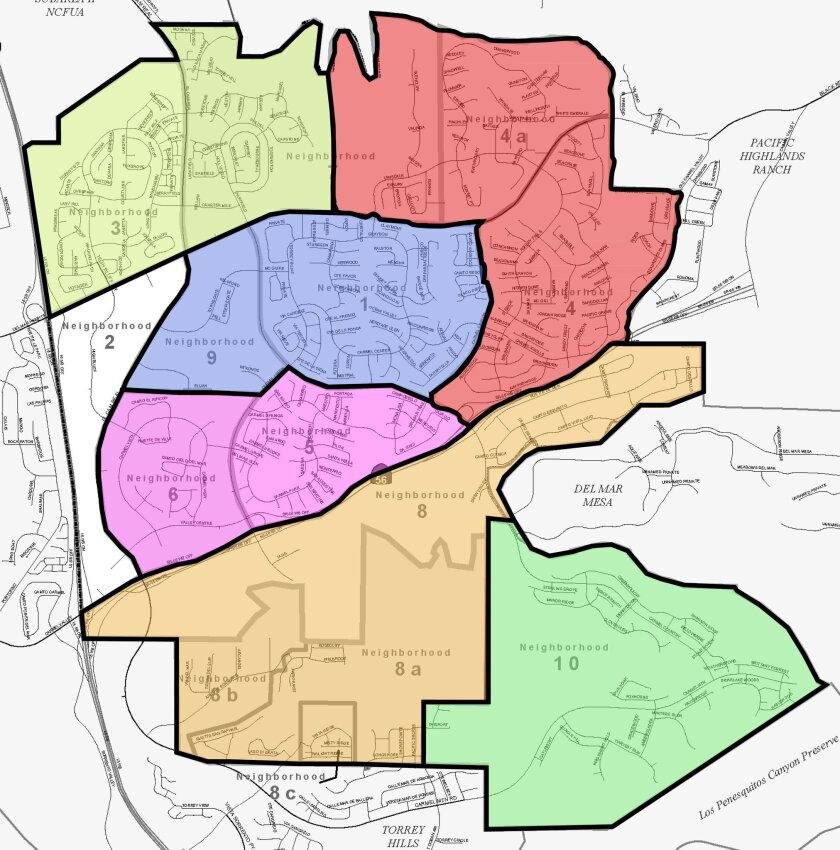 The new map of the Carmel Valley community district.