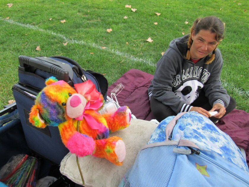 Jody Kieft, who attended El Capitan High School, said she is hoping to break her drug addictions and leave the homeless life behind. She currently spends days in Wells Park in El Cajon.