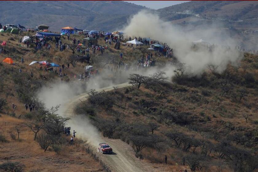 El piloto francés Sébastien Ogier y el copiloto Julien Ingrassia conducen su Citroen Total WRT, este viernes, en el tramo El Chocolate de la ciudad de Silao, durante la primera etapa del XVI Rally Guanajuato México, que se corre en León, Guanajuato (México). EFE