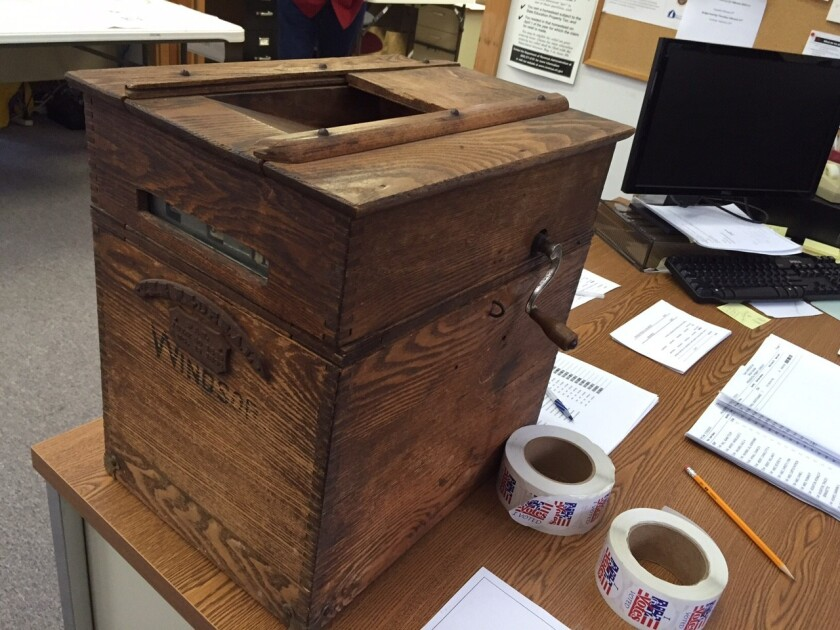 The ballot box for the town of Windsor, N.H., is one of 40 across the state that been in continual use since 1892.