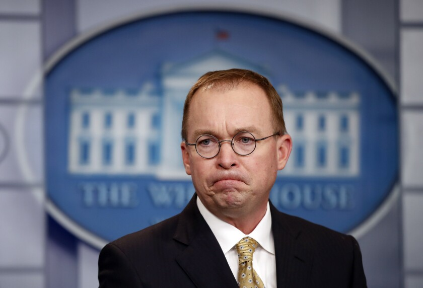 Mick Mulvaney, acting White House chief of staff, speaks to reporters at the White House.