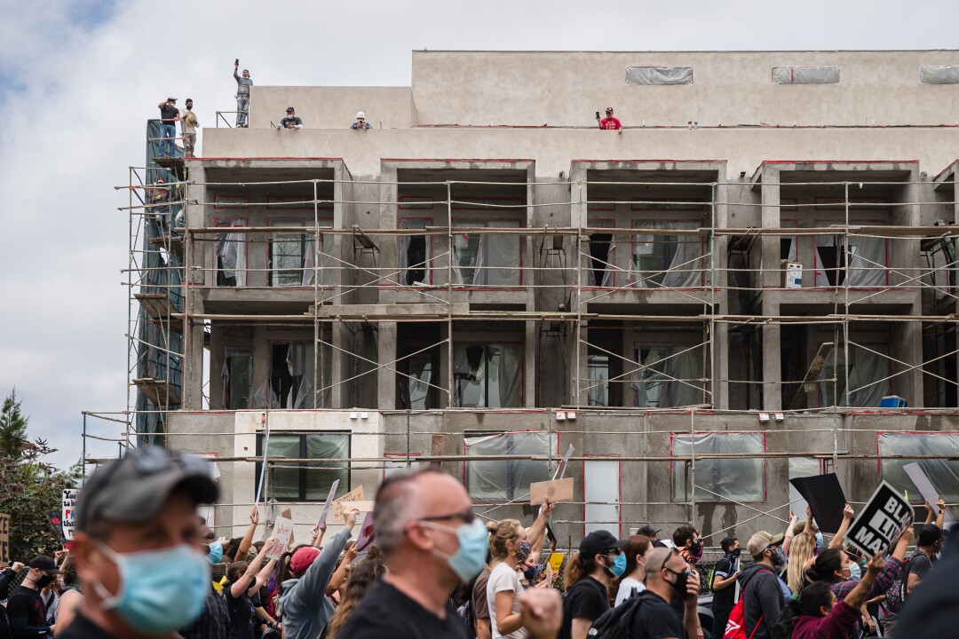 Protesters march towards Hillcrest on June 6, 2020 in San Diego, California.