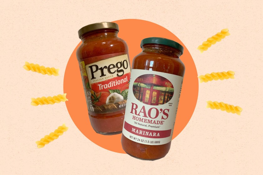 Two jars of pasta sauce, Rao's and Prego