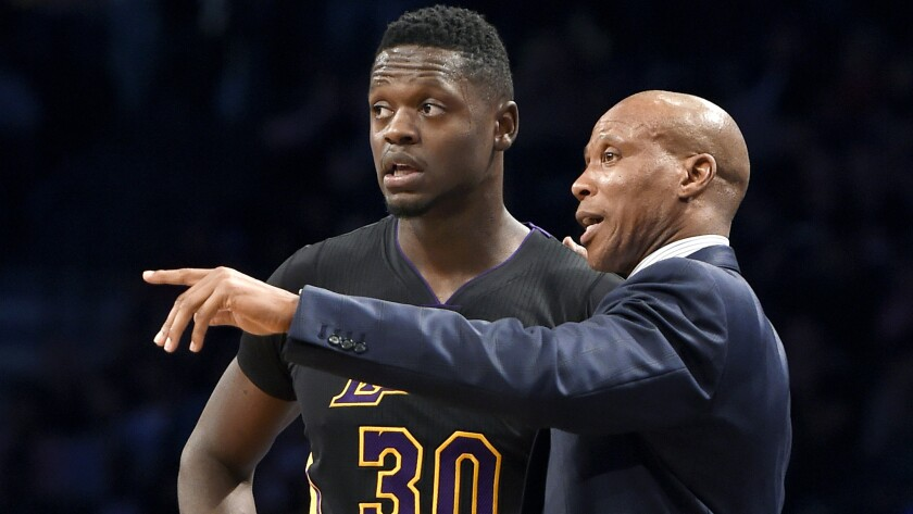 Lakers Coach Byron Scott has some pointers for forward Julius Randle during a game against the Nets on Nov. 6 in Brooklyn.